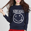 Women fleece sweatshirt Nirvana Smiley Face funny Casual kpop clothes brand hoodies 2017 autumn streetwear harajuku pink hipster