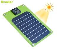 Lionstar 5 vatios Cargador Solar portátil al aire libre 5 W construir-USB en el cargador carga cambio de energía solar energía directamente