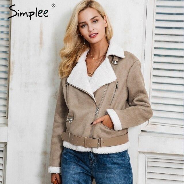 Simplee 가죽 스웨이드 양고기 모피 재킷 코트 여성 가짜 스웨이드 재킷 벨트 턴 다운 겨울 코트 여성 캐주얼 지퍼 모토 외투