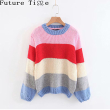 Future Time Loose Long Sleeve Striped Mohair Sweater Plus Size O Neck  Pullovers 83fb7e1ace33