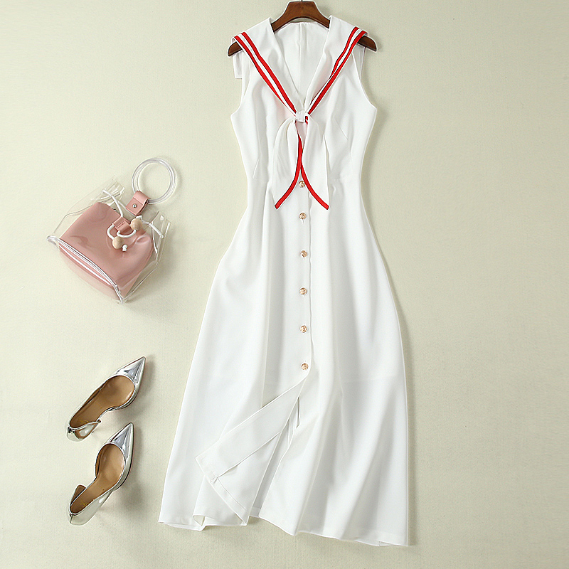 Long Dress High Quality 2019 Summer New Women'S Fashion Party Casual Sexy Workplace Vintage Elegant Chic White Vest Dresses-in Dresses from Women's Clothing    3