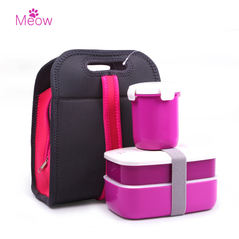 Fashion Double Portable Box Picnic Lunch Microwave Heating Simple Plastic Lid Plate Seal <font><b>Set</b></font> With Handbag