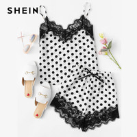 SHEIN Women Sleepwear Shorts And Top Pajama Sets Sleeveless Eyelash Lace Trim Polka Dot Cami Shorts