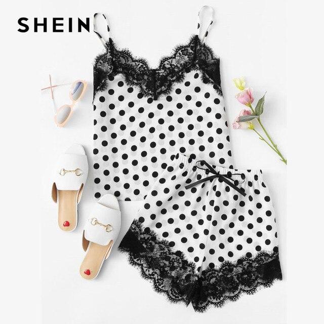 SHEIN Women Sleepwear Shorts and Top Pajama Sets Sleeveless Eyelash Lace  Trim Polka Dot Cami &