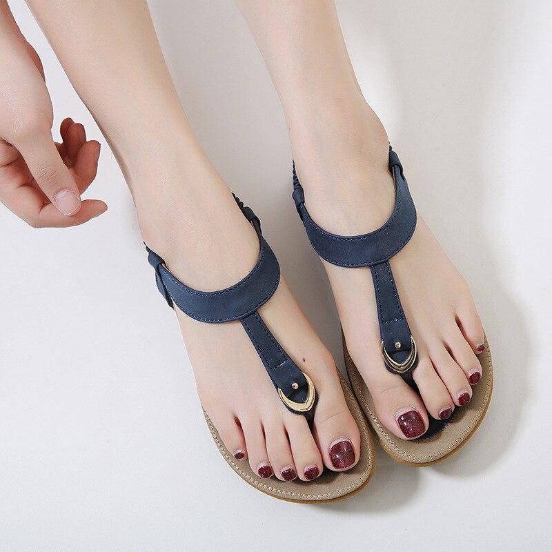Vintage Mujer Confort rose Mode Dame Plage Femmes Femme Bohême Plat Flops Sandalias Apricot bleu Chaussures Sandales D'été Flip xzqP6