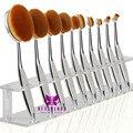 Nuevo 10 unids/set Cepillo de Dientes Forma Ovalada Cepillo De Maquillaje Profesional 5 Colores Brillantes de Plata Oro Negro Fundación Make Up cepillos