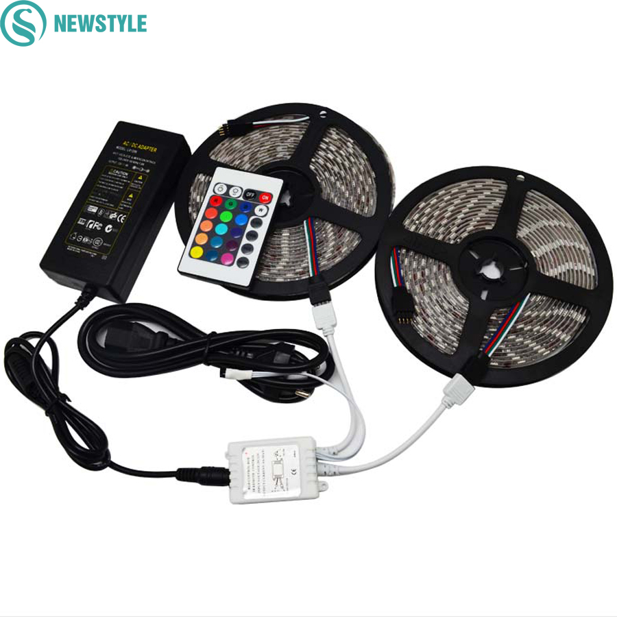 2 5m 10m dc12v 60leds m led strip rgb 5050 smd light outdoor strips lighting 24 keys ir remote. Black Bedroom Furniture Sets. Home Design Ideas