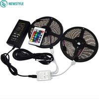 2*5M 10M DC12V 60LEDs/M LED Strip RGB 5050 SMD Light Outdoor Strips Lighting + 24 Keys IR Remote Controller +12V 6A Power