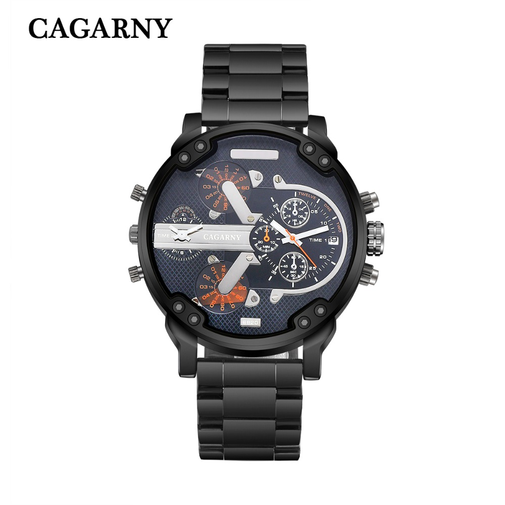 very cool dz big case mens watches full steel band dual time zones miltiary watch men quartz wrist watch free shhipping (3)