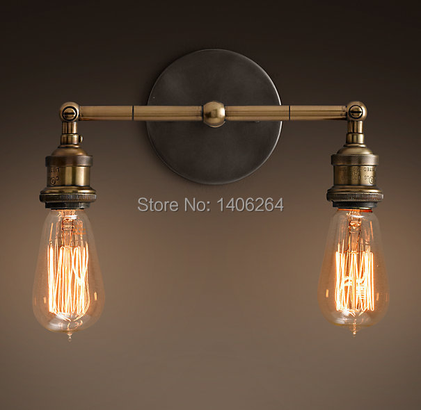 LOFT Edison E27X2 Bulbs Copper Double Wall Lamp Vintage Lighting Cafe Bar Coffee Shop Bedside Hall Way Store Shop Club image