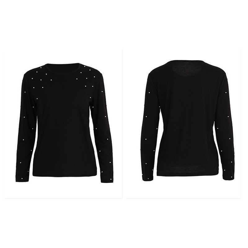 Hirsionsna жемчужная Футболка женская 2018 Весенняя брендовая черная футболка с длинными рукавами femme Повседневная Элегантная футболка с круглым вырезом для женщин