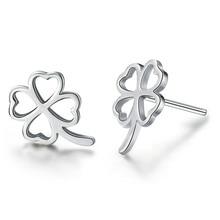 цена 100% 925 sterling silver fashion lucky flower ladies`stud earrings jewelry women female Anti allergy birthday gift drop shipping в интернет-магазинах