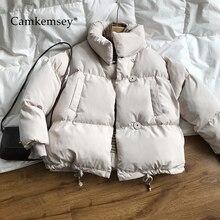 Camkemsey engrossar parkas 2020 nova casual gola solta jaqueta feminina quente algodão acolchoado casaco de inverno