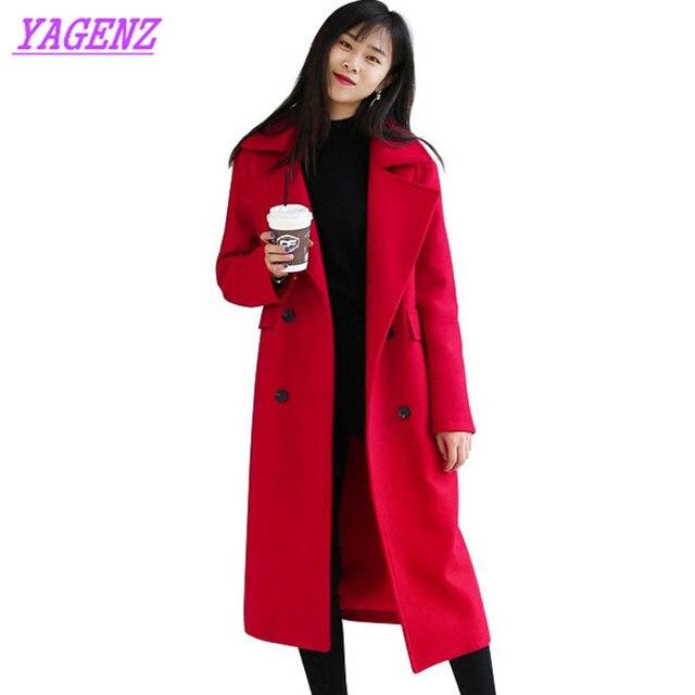 NEW Large size Students Women Winter warm Wool coat Loose Long Upscale Woolen Jacket Fashion Double breasted Wool overcoat B183