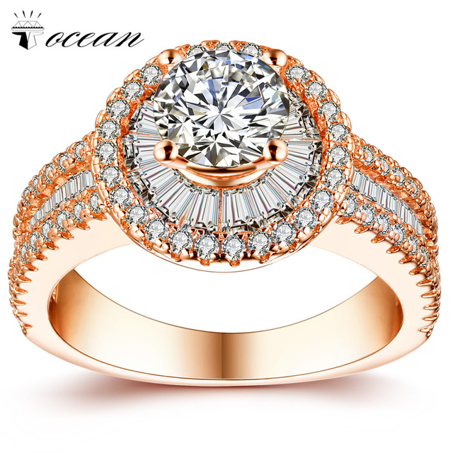 Tocean Rose Gold Color Retro Romantic Wedding Rings for Women Round AAA Zircon Engagement Popular Bijoux Bague Size 6-9 W053