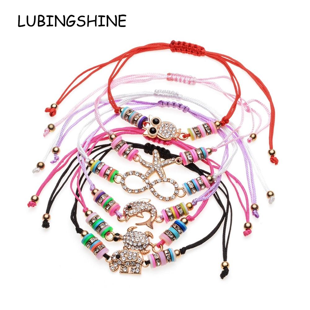 LUBINGSHIN 6 pcs/Sets Women Crystal Beads Bracelets&Bangles Adjustable Turtle Owl Eye Charms Wristband Fashion Jewelry Gifts