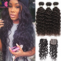 Ali Moda Hair Peruvian Water Wave Virgin Hair With Closure Wet And Wavy Human Hair Weave Cheap Peruvian Curly Hair With Closure