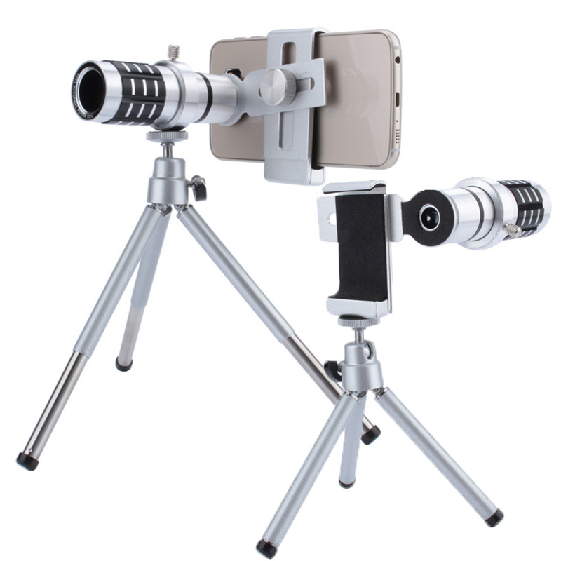 Aluminum 12X Telephoto Telescope Phone Camera Zoom Lens With Tripod Universal Clip For Smartphone Mobile Telescopica Lenses-in Mobile Phone Lens from Cellphones & Telecommunications
