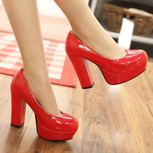 2016 Nuevos zapatos de Tacón de 11 CM de Charol Punta Redonda Bombas de Las Mujeres Más El tamaño Del Partido/de La Boda Sexy Ladies Bombas de la Plataforma Zapatos casuales 903