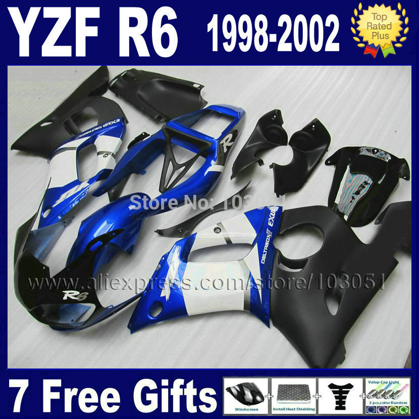 Custom free road racing moto fairing for YAMAHA YZFR6 1998 1999 YZF600 02 01 00 99 98 YZF R6  2000 2001 2002 ABS body fairings