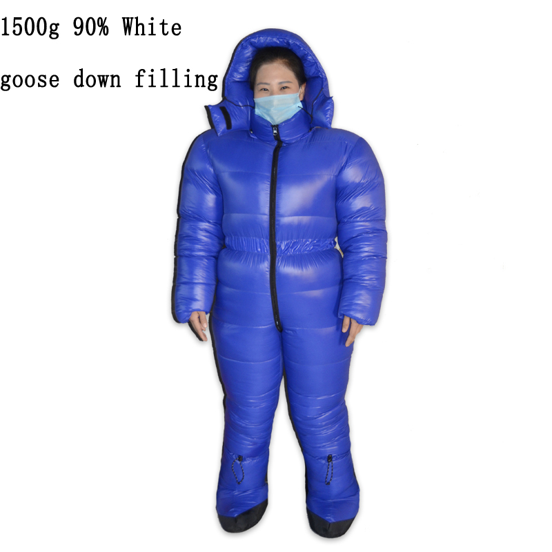 1500g White Goose Down Filling Winter Antarctic Arctic Expedition Cold Environment Special Use Sleeping Bag Down Suit