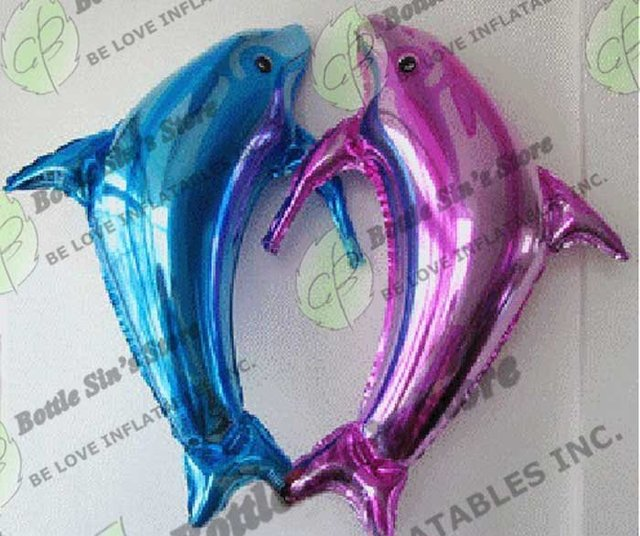 Wholesale-50pcs Big Dolphin Helium/Hydrogen Foil Decoration Balloon, Great wedding decoration, FREESHIPPING