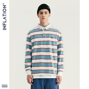 Image 3 - אינפלציה 2020 גברים פסים ארוך שרוול חולצת טי גברים רחוב ללבוש חולצה O צוואר מזדמן רופף סגנון חולצה סתיו למעלה Tees 91502W