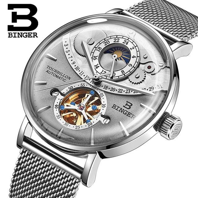 0a8f3911fa3 Suíça Homens Relógio BINGER Safira Mecânico Automático Dos Homens Relógios  de Luxo Da Marca Relogio masculino