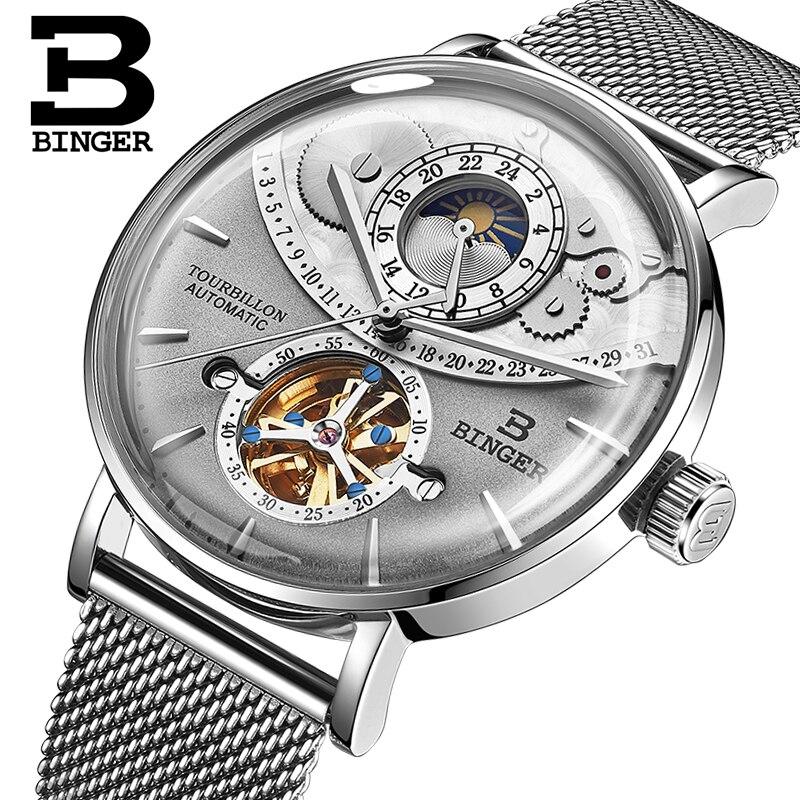 Switzerland Watch Men BINGER Automatic Mechanical Men Watches Luxury Brand Sapphire Relogio Masculino Waterproof Men Watch B-1-4 костюм спортивный b men b men bm001emwwv08