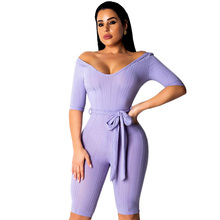 New Fashion Summer Off Shoulder Sexy Lace Up V Neck Casual Rompers Womens Jumpsuit Skinny Club Party Bodysuit Combinaison Femme цена и фото