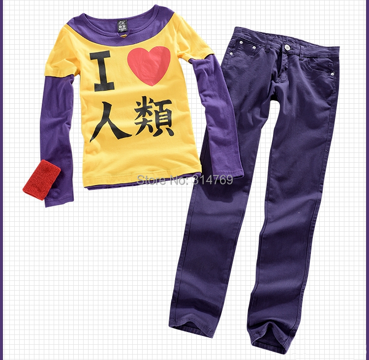 Anime No Game No Life Cosplay Costumes Sora Outfit set I Love Human Being Long Sleeve T-Shirts + Pants