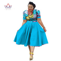 Plus Size Clothing 2019 summer Dress african traditional clothing for women Bazin Riche african print dress short sleeve WY733