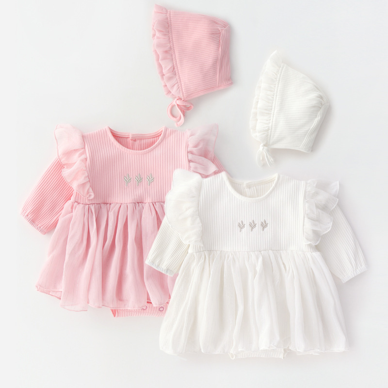 2019 New Born Baby Girl Dresses Clothes Little Girls Clothing Spring Cotton Princess Baby Dress+hat Birthday Baptism Dress