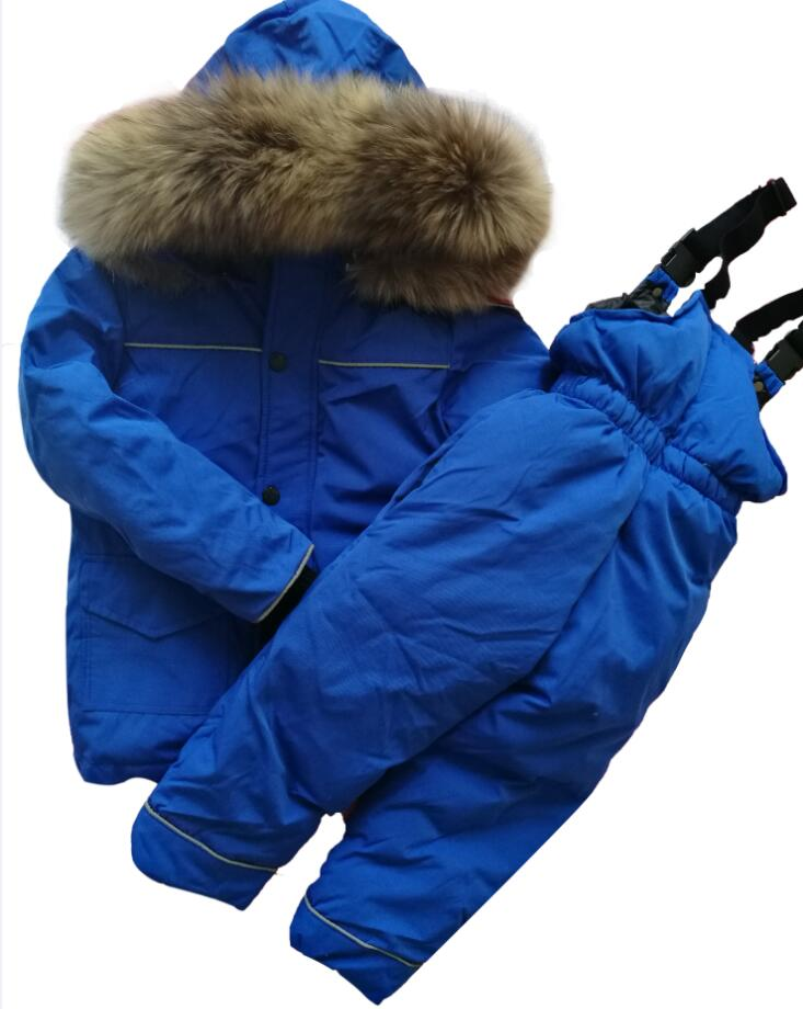 Fur hooded boy girl duck down jacket warm kids snow suit waterproof children parka coat snowsuit Suit winter clothes for girls 2018 girls clothing warm down jacket for girl clothes 2018 winter thicken parka real fur hooded children outerwear snow coats