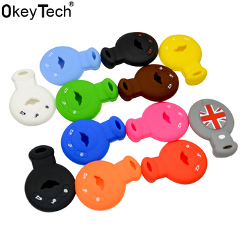 OkeyTech 3 buttons Silicone Key Cover For Bmw Mini Cooper S Roadster R55 R56 R57 R58 R59 key shell auto parts Car accessories
