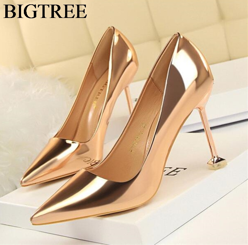 New Fashion Champagne Thin Heel Stiletto Woman Shoes Sexy Point Toe High Heels Party Shoes Brand High Quality Gold Silver Pumps