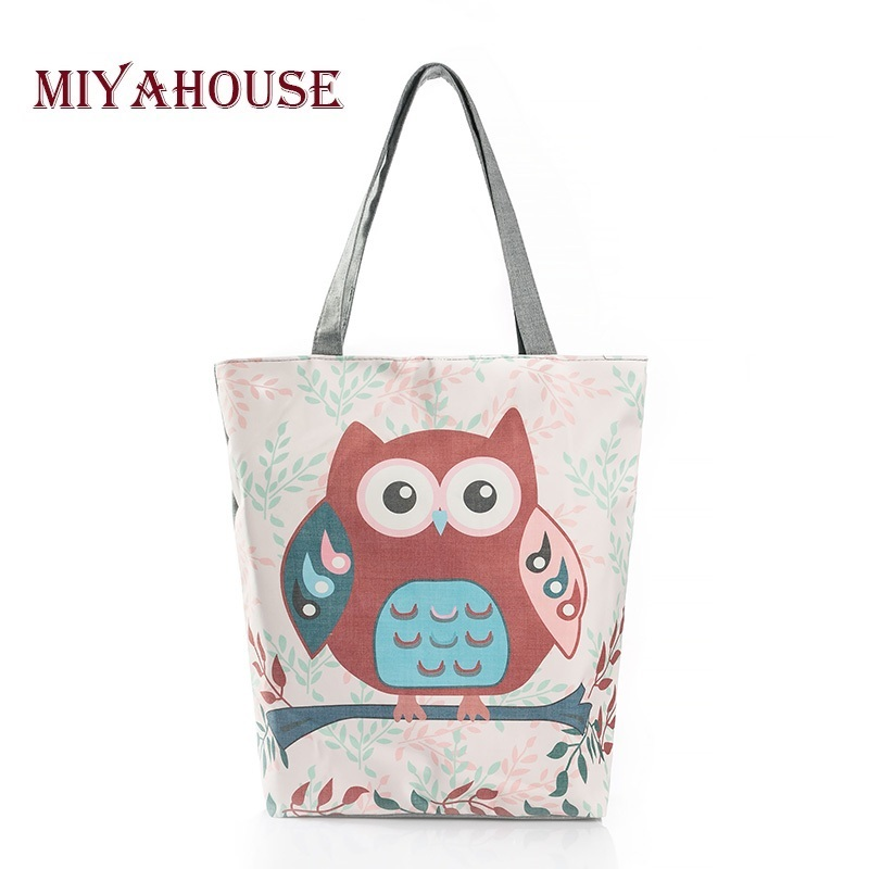 Floral And Owl Printed Canvas Tote Female Casual Beach Bags Large Capacity Women Single Shopping Bag Daily Use Canvas Handbags forudesigns casual women handbags peacock feather printed shopping bag large capacity ladies handbags vintage bolsa feminina