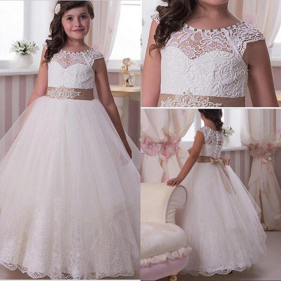 New Puffy Girls Dress White Ivory Lace Tulle with Sash 2017 Custom First Communion Dress Any Size white ivory girls first communion dresses ball gown lace with sash long junior flower girl dress for wedding custom any size
