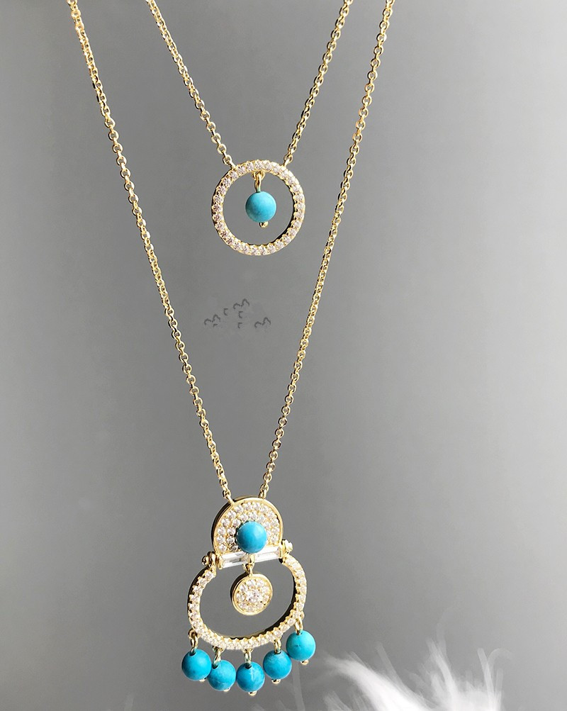 цена ZOZIRI Luxury Monaco Brand 925 Sterling Silver Cubic Zirconia Green Stones Double layer Necklace With blue Beads Women Jewelry