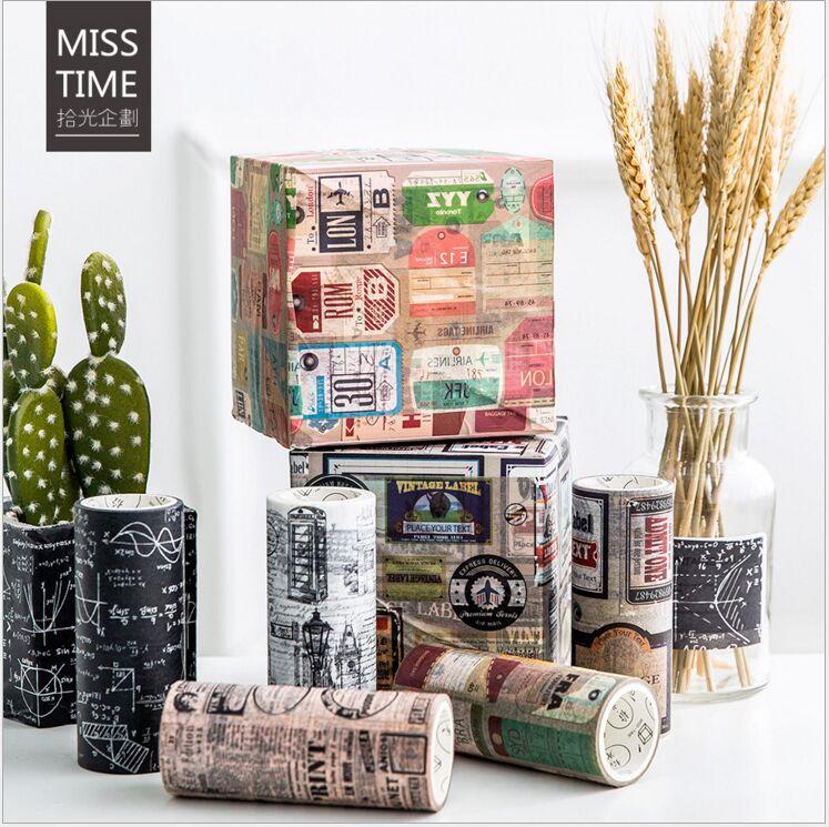 10cm Retro Charming London British newspaper Vintage Luggage label formula decoration planner washi tape DIY masking tape escola