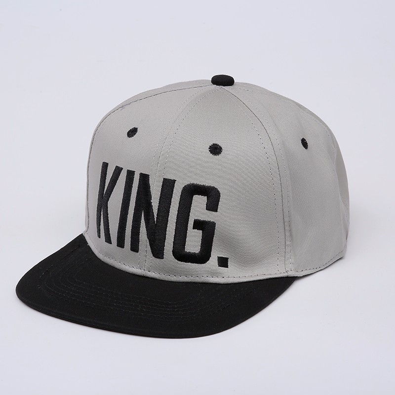 "Embroidered ""King and Queen"" Snapback Cap Set - Grey King Cap with Black Embroidery, Black Brim, Black Eyelets and Black Button Top"
