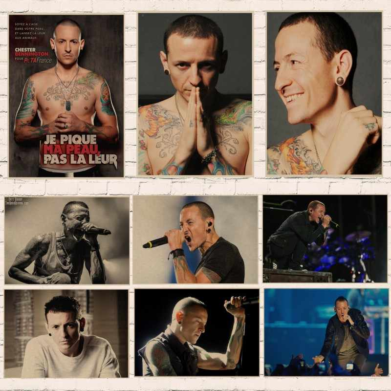 Nostalgico Rock Band Linkin Park Chester Bennington kraft di carta Cafe bar poster Retro Poster room decor A4