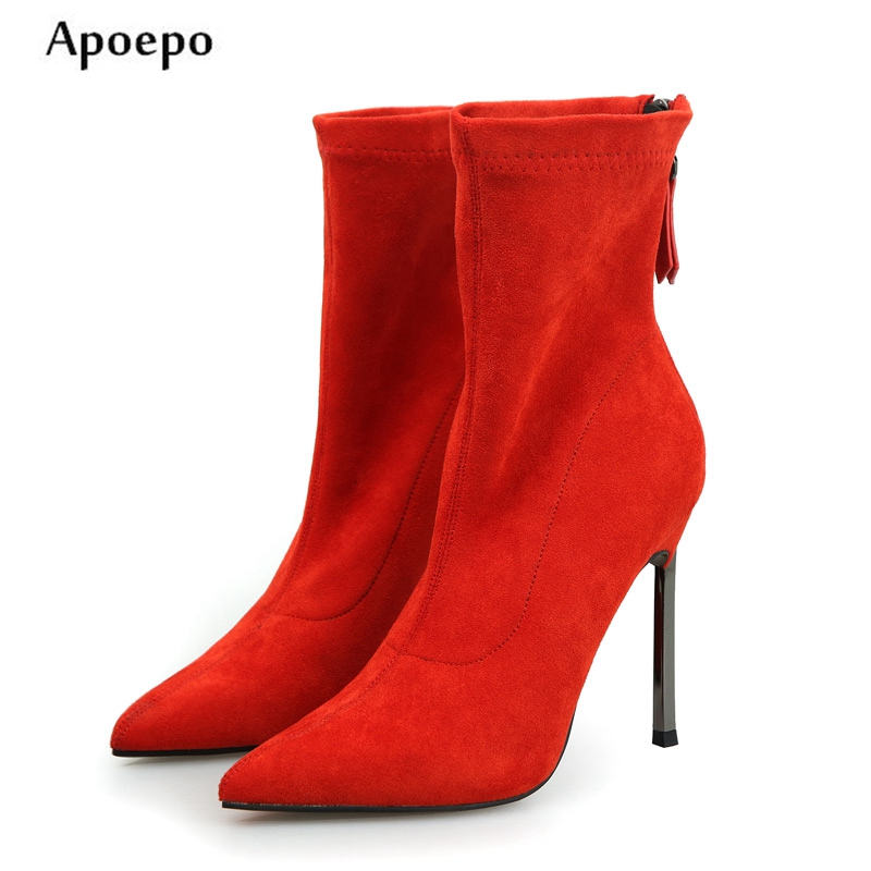 Apoepo Hot Selling Pointed Toe Woman Boots 2018 Red Suede Thin heels Boots Red Suede high Heel ankle boots apoepo hot selling green suede high heel
