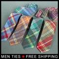 Los hombres de alta calidad de algodón y tela de lino tela empate 6 cm flaco corbata marca de lujo gravata Corbatas corbatas delgadas