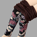 2017 New arrival Plus velvet  leggings women autumn and winter plus-size   Print Flower Warm pants