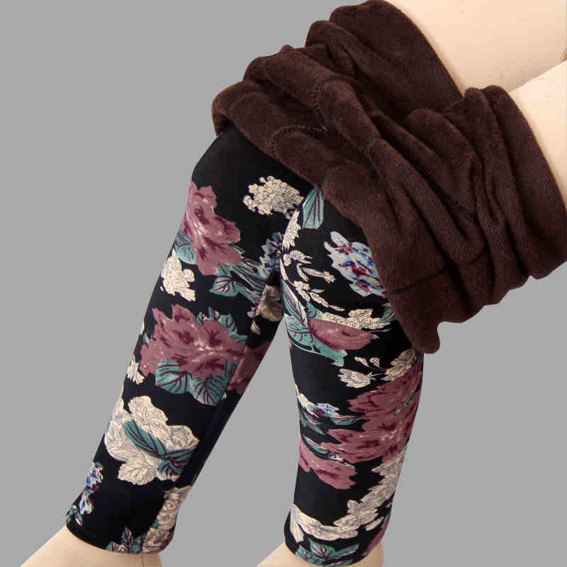 2018 New arrival Plus velvet   leggings   women autumn and winter plus-size Print Flower Warm pants