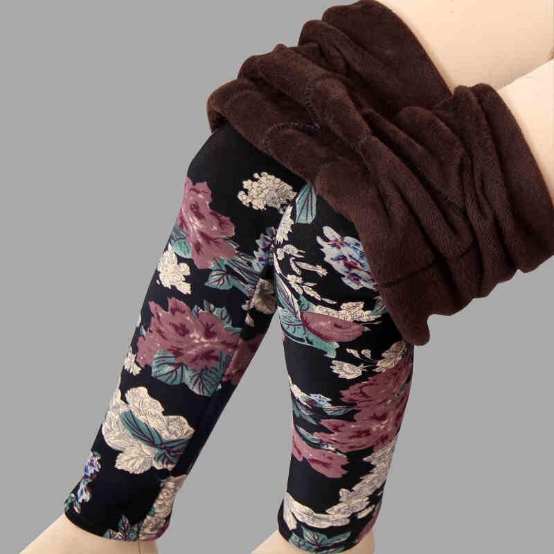 New arrival Plus velvet   leggings   women autumn and winter plus-size Print Flower Warm pants