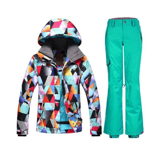 Gsou 2018 Women s Ski Suit Waterproof Snowboard Colorful Ski Jacket and Pants  Ski Suit Female Girl bcf61716a
