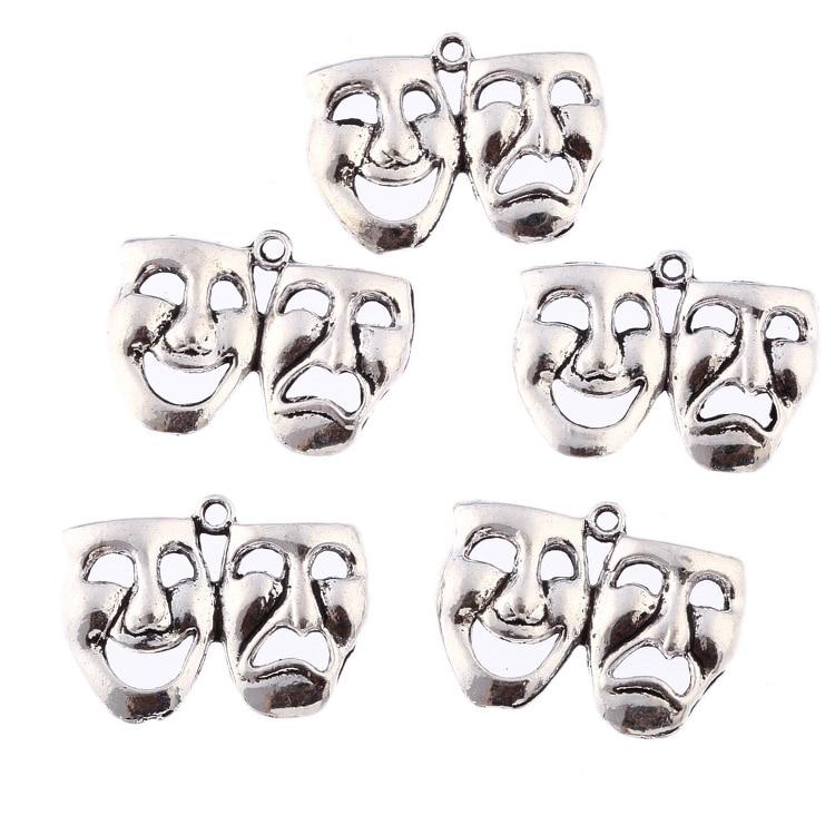 30pcs 32*20mm mask theatre comedy tragedy art Tibetan Silver Bead charms Pendants fit bracelet For Women Men New Year Gift