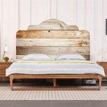 Стиль Эко-дружественных ПВХ кровать наклейка на Изголовье с бежевой текстурой древесины шаблон 3D декоративные настенные стикеры украшение дома